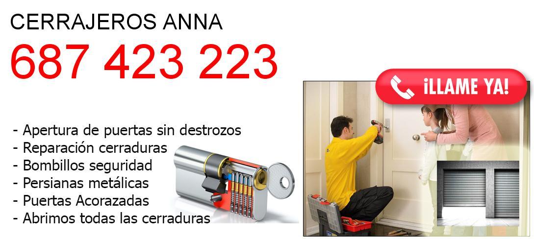 Empresa de cerrajeros anna y todo Valencia