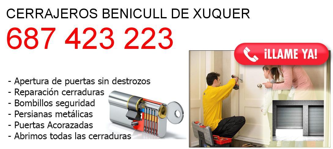 Empresa de cerrajeros benicull-de-xuquer y todo Valencia
