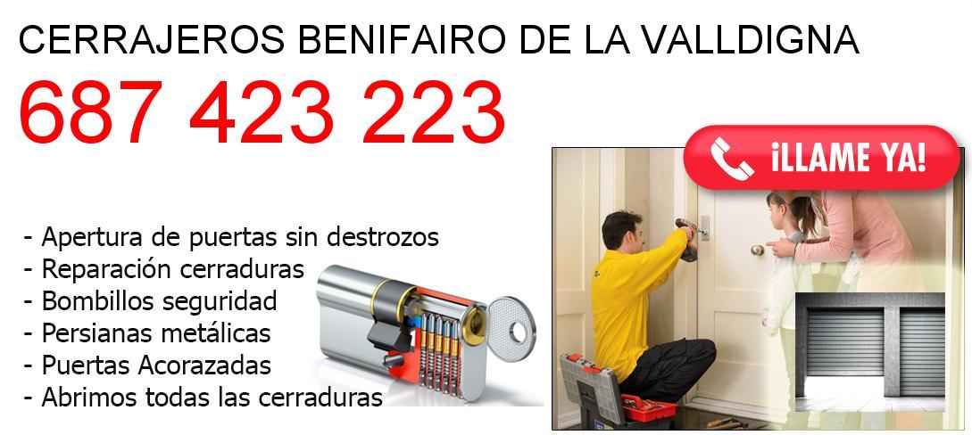 Empresa de cerrajeros benifairo-de-la-valldigna y todo Valencia