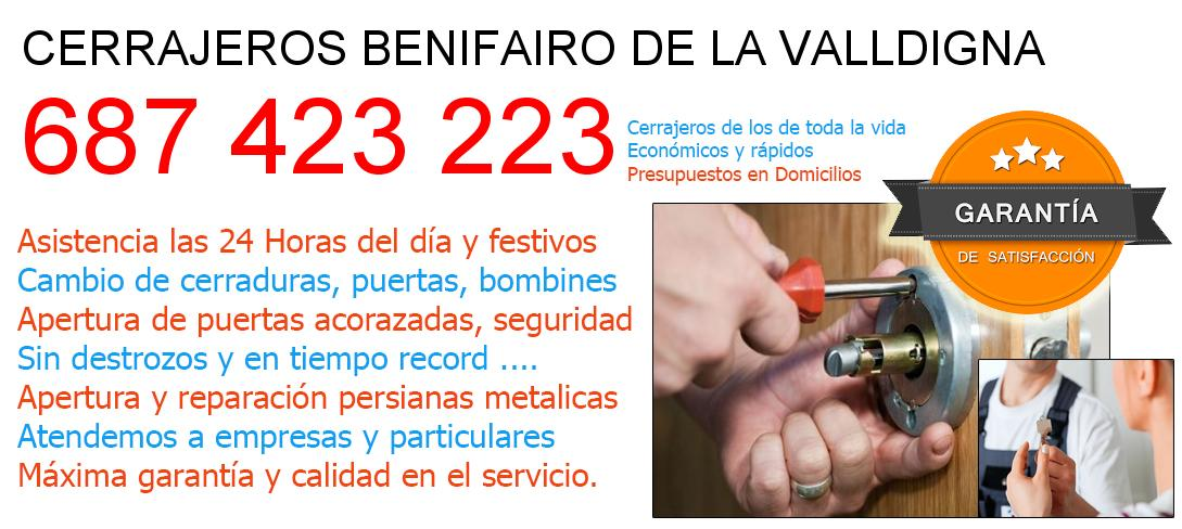 Cerrajeros benifairo-de-la-valldigna y  Valencia