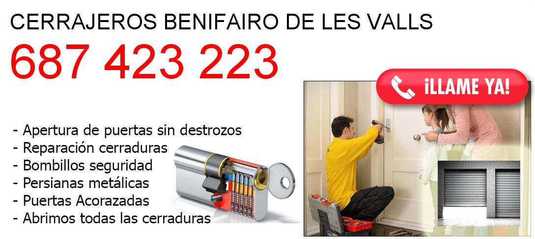 Empresa de cerrajeros benifairo-de-les-valls y todo Valencia