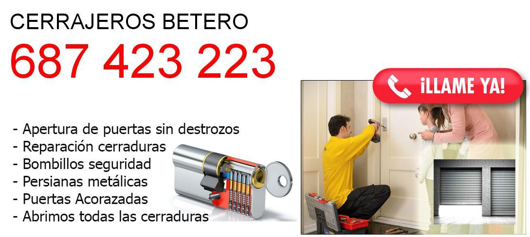 Empresa de cerrajeros betero y todo Valencia