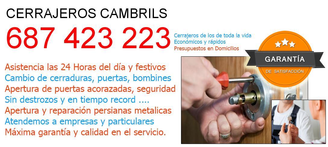 Cerrajeros cambrils y  Tarragona