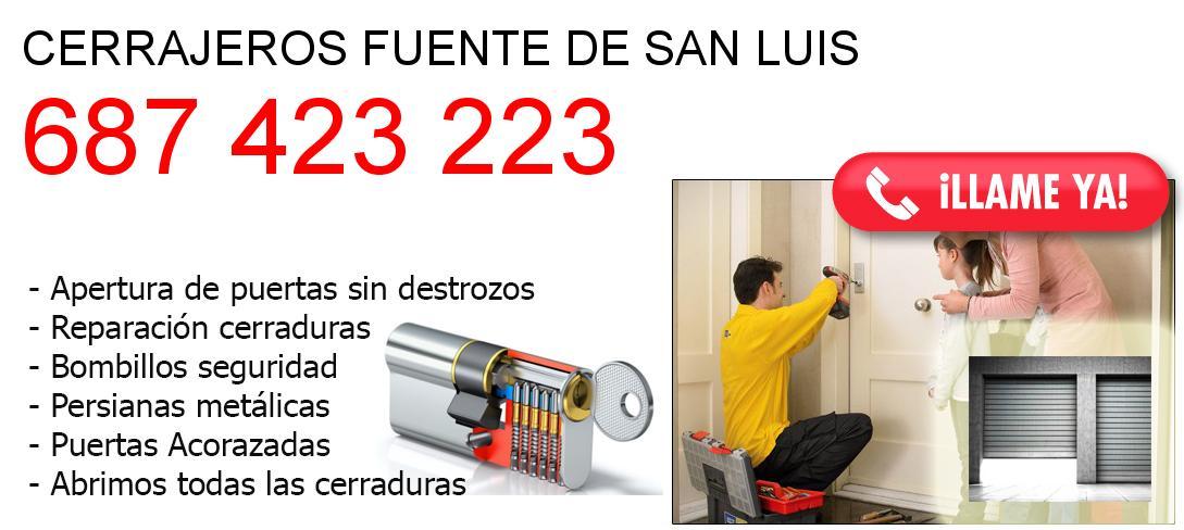 Empresa de cerrajeros fuente-de-san-luis y todo Valencia