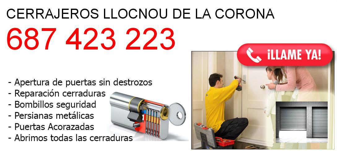 Empresa de cerrajeros llocnou-de-la-corona y todo Valencia