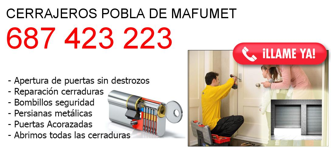 Empresa de cerrajeros pobla-de-mafumet y todo Tarragona