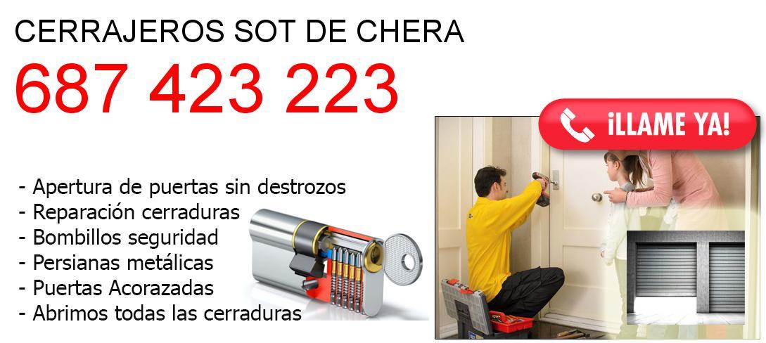 Empresa de cerrajeros sot-de-chera y todo Valencia